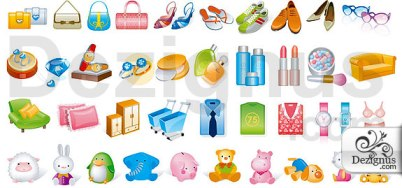 Vector icons related to shopping