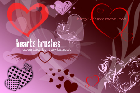 Free Photoshop brushes: Hearts