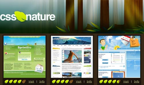 CSS NATURE is a showcase of well designed eco green and organic CSS based website designs.