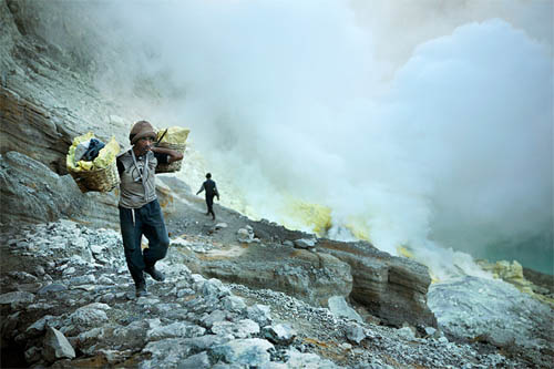Working at the Ijen Crater