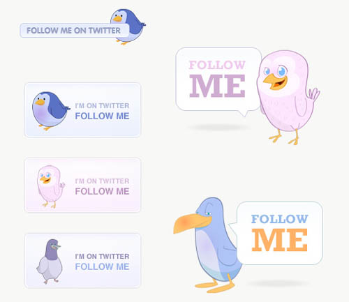40 Cute Free Twitter Graphics: Badges, Icons & Buttons…
