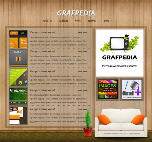 Create a photorealistic web layout - CSS/XHTML available