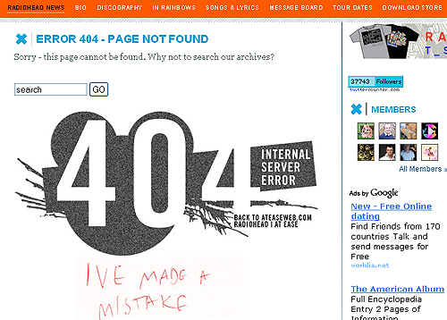 Error 404 pages
