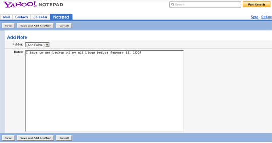 Yahoo-Notepad