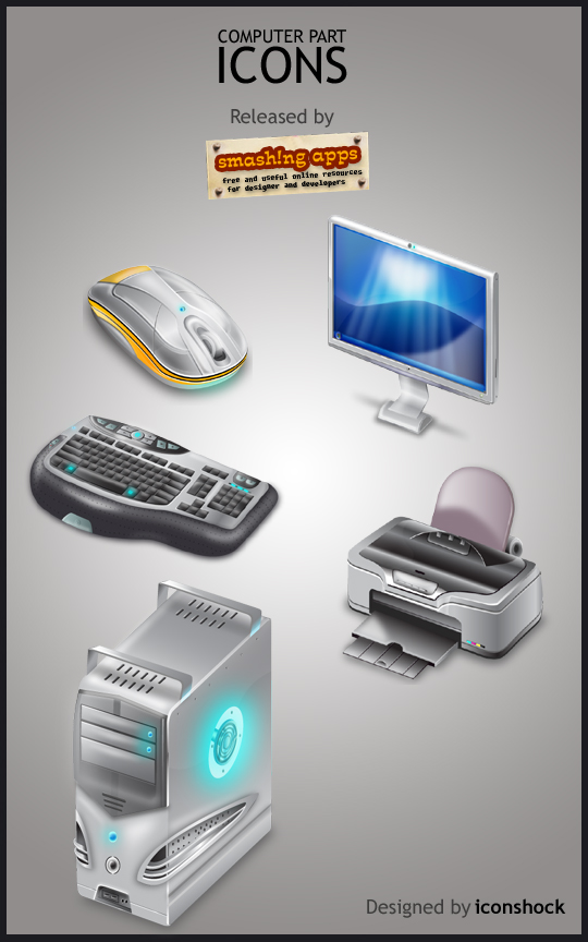 Smashing Release : Free Computer Part Icon Set 1