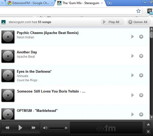 ExtentionFm Helps You Create A Playlist Of Your Mp3 Songs On Your Favorite Website 3