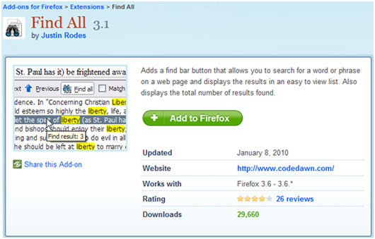 Add Chrome Like Text Search Functionality to Firefox (Add-on) 3