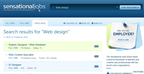 Sensational Jobs : A Job Board For Web Developers, Graphic Designers And Bloggers 3