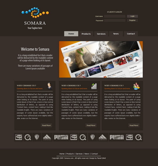 50 High Quality Web Layout PSD Templates Available For Free 20