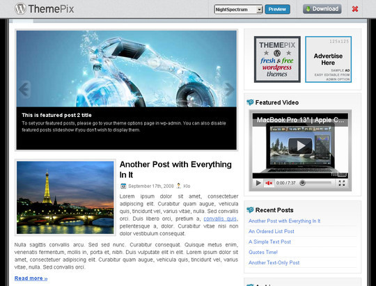 50 Fresh and Free WordPress 3 Series Compatible Themes 24