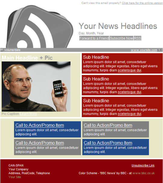 50 Useful And Free HTML Newsletter Templates 33
