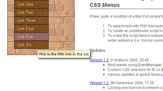 Unobtrusive and Slightly Accessible CSS Tool Tips on Semi Transparent CSS Menus