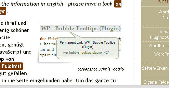 WP - Bubble Tooltips