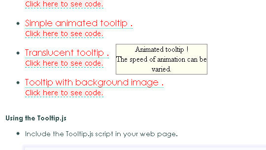 Animated Tooltip JavaScript