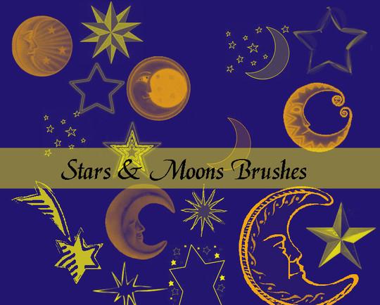 15 Amazing Free Moon And Stars Photoshop Brushes 12