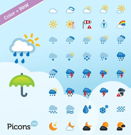 40 Free Weather Forecast Icon Sets 24