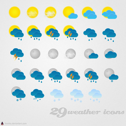 40 Free Weather Forecast Icon Sets 27
