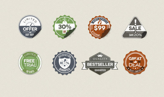 40 Beautifully Designed Stickers, Tags And Badges In PSD Files 21