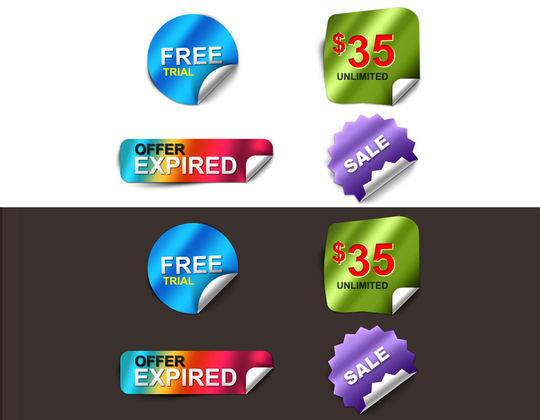40 Beautifully Designed Stickers, Tags And Badges In PSD Files 9