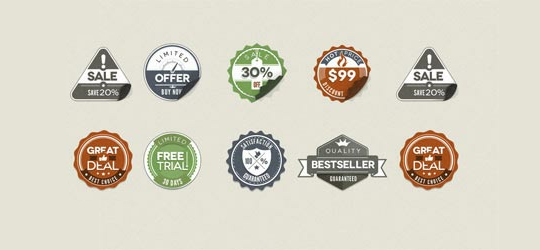 40 Beautifully Designed Stickers, Tags And Badges In PSD Files 25