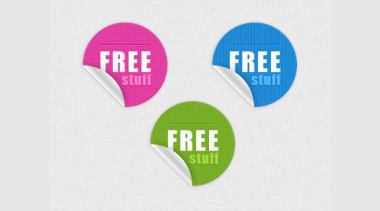 40 Beautifully Designed Stickers, Tags And Badges In PSD Files 13