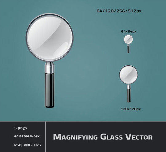 11 Free Magnifying Glass Search Icons (PSD) Set 4