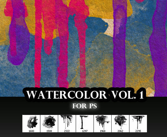 45 Free Watercolor, Ink And Splatters Brushes For Photoshop 24