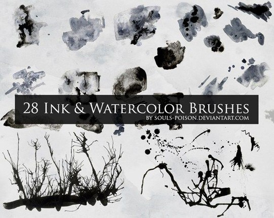 45 Free Watercolor, Ink And Splatters Brushes For Photoshop 13