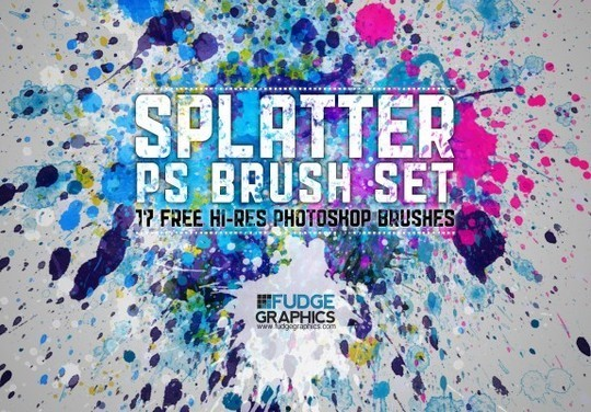 45 Free Watercolor, Ink And Splatters Brushes For Photoshop 9