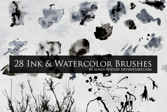 45 Free Watercolor, Ink And Splatters Brushes For Photoshop 11