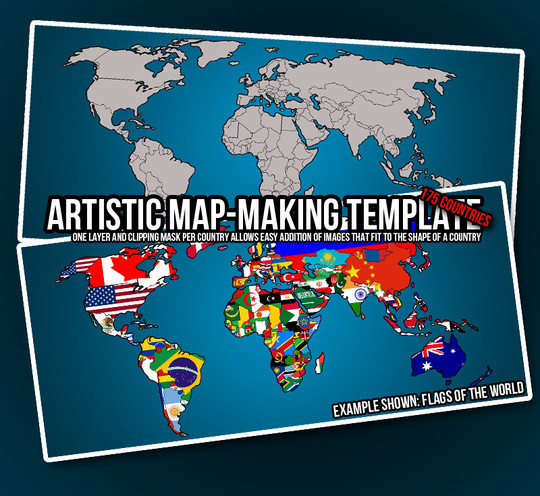21 Creative World Maps in Photoshop, Eps & Ai Formats 6
