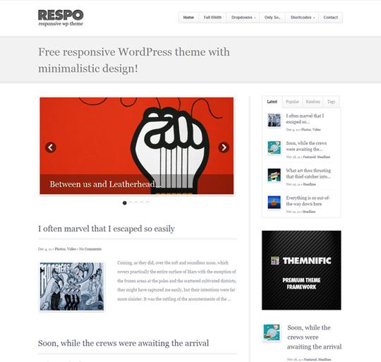 Free Minimal Responsive Wordpress Themes 1
