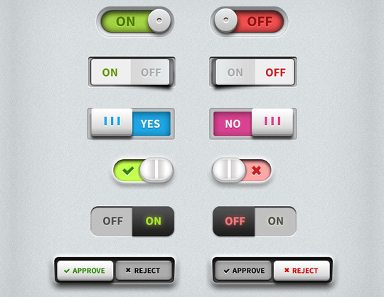20 Free Toggle Switches UI Elements (PSD) 2