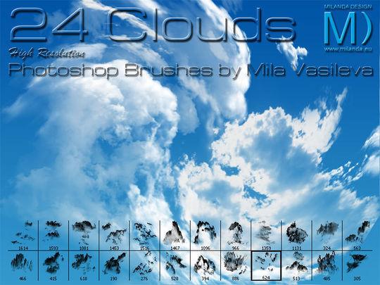 15 Free Cloud Vector Brush Sets 1