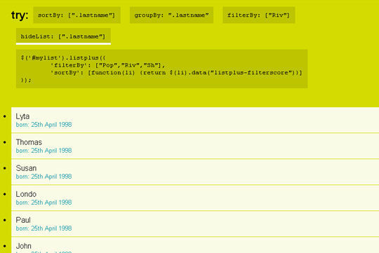Collection Of jQuery Plugins For Filtering And Sorting Items 3