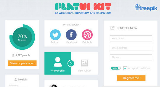 50 Free Flat UI Kits For User Interface Designers 6