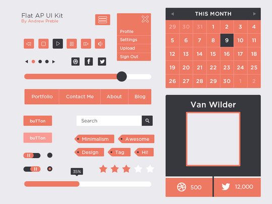 50 Free Flat UI Kits For User Interface Designers 12