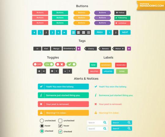50 Free Flat UI Kits For User Interface Designers 26