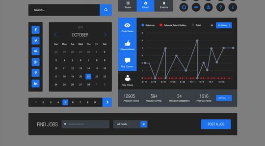50 Free Flat UI Kits For User Interface Designers 23