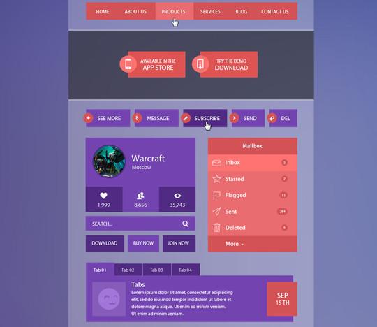 50 Free Flat UI Kits For User Interface Designers 30