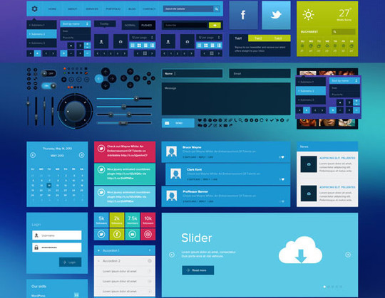 50 Free Flat UI Kits For User Interface Designers 9