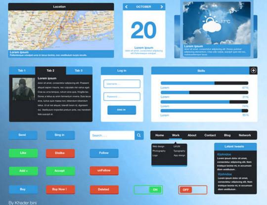 50 Free Flat UI Kits For User Interface Designers 38