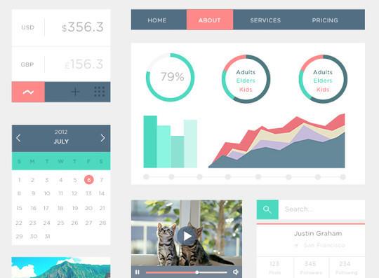 50 Fantastic And Free Web UI Kits 47
