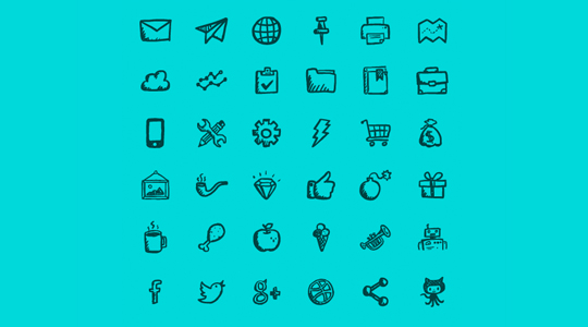 17 Free Awesome Hand-Drawn Icon Sets 7