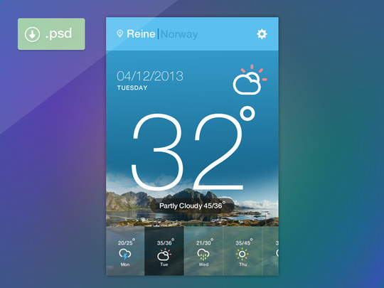 13 Free Weather Widget PSD Files 6
