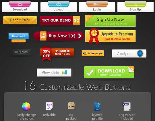 40 Free Web Design Buttons For Web Designers 16