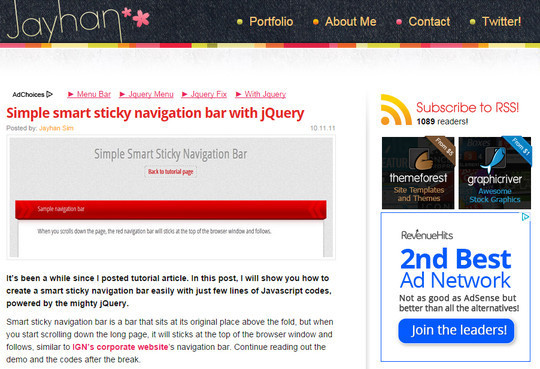 Awesome jQuery Plugins & Tutorials For Sticky Layer Or Table Header 31