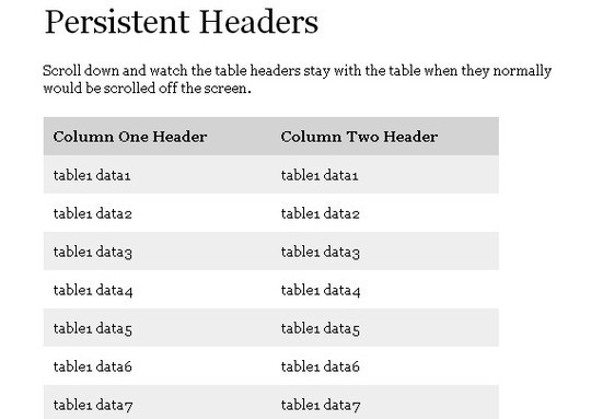 Awesome jQuery Plugins & Tutorials For Sticky Layer Or Table Header 12