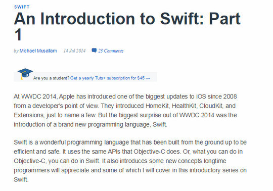 12 Tutorials For Getting Started With Swift; Apple's New Programming Language 12