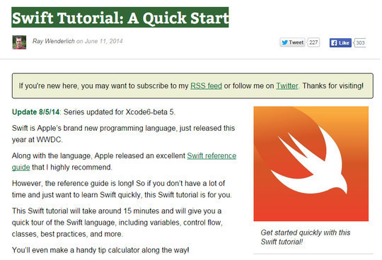12 Tutorials For Getting Started With Swift; Apple's New Programming Language 3